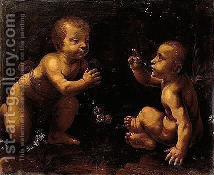 The Figures Of The Christ Child And Infant John The Baptist Are Based On Leonardo's Famous Painting Of The Virgin Of The Rocks by (after) Leonardo Da Vinci - Reproduction Oil Painting