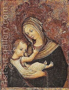 The madonna and child by (after) Michele (di Taddeo Di Giovanni Bono) Giambono - Reproduction Oil Painting