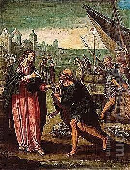 The calling of Saint Peter by (after) Alessandro Allori - Reproduction Oil Painting