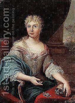 Portrait of a lady seated at a table by Dutch School - Reproduction Oil Painting