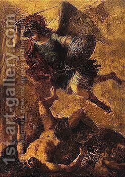 The archangel michael vanquishing the devil by Spanish School - Reproduction Oil Painting