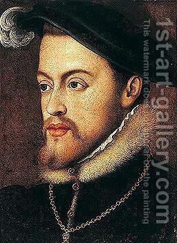 Portrait of philip II king of spain by (after) Anthonis Mor Van Dashorst - Reproduction Oil Painting