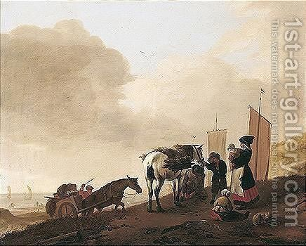 A beach scene with figures gathering faggots by (after) Pieter Wouwermans Or Wouwerman - Reproduction Oil Painting