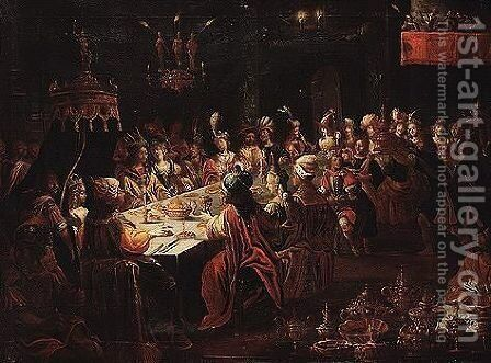 Dinner by (after) Bartlomiej Strobel - Reproduction Oil Painting