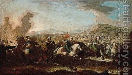 The battle by (after) Ilario Mercanti - Reproduction Oil Painting