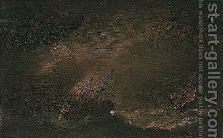 Dutch shipping in stormy seas by (after) Willem Van De, The Younger Velde - Reproduction Oil Painting