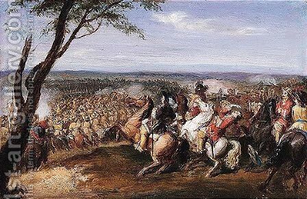 A cavalry battle by Jean-Baptiste Martin (Des Batailles) - Reproduction Oil Painting
