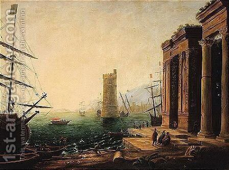 A 19th Century Copy After A Lost Painting By Claude, A Later Replica Of Which Is In Oberlin by (after) Claude Lorrain (Gellee) - Reproduction Oil Painting