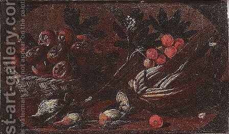 Still life of a basket of fruit, a cardoon, robbins and a thrush upon a ledge by (after) Tommaso Salini (Mao) - Reproduction Oil Painting