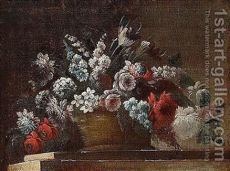 Still life of flowers in a basket, upon a stone ledge by Italian School - Reproduction Oil Painting