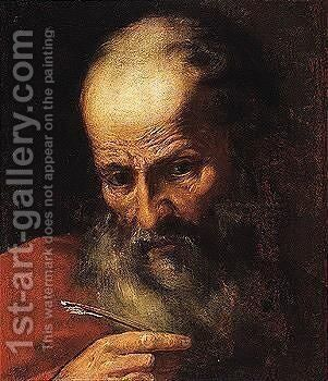 The head of an evangelist by Italian School - Reproduction Oil Painting