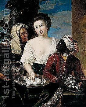 Portrait of a lady, three-quarter length, with a moorish page and maidservant by (after) Mignard, Pierre II - Reproduction Oil Painting