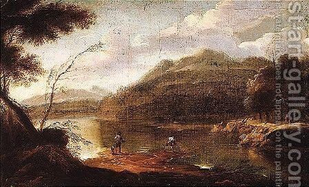 A wooded landscape with figures by a lake by (after) Marco Ricci - Reproduction Oil Painting