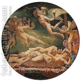 Cupid and Psyche by (after) Anne-Louis Girodet De Roussy-Trioson - Reproduction Oil Painting