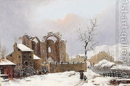 A winter landscape with figures on a path by a ruined church by (after) Jules Cesar Denis Van Loo - Reproduction Oil Painting