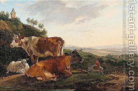 Landscape with cattle and sheep resting, a town beyond by Jean-Francois Legillon - Reproduction Oil Painting