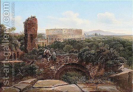 A view of rome with the colosseum and the arch of constantine by Carl Brunner - Reproduction Oil Painting