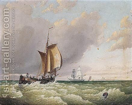 A barge and other shipping in open seas by (after) Frederick Calvert - Reproduction Oil Painting