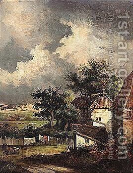 Cottages in a landscape by (after) Patrick Nasymth - Reproduction Oil Painting