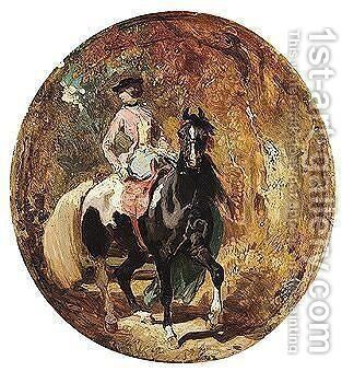 Woman on a horse by (after) Thomas Churchyard - Reproduction Oil Painting