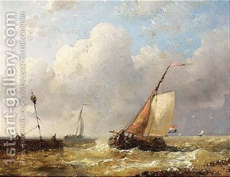 Sailingvessels In Choppy Waters by Abraham Hulk Jun. - Reproduction Oil Painting