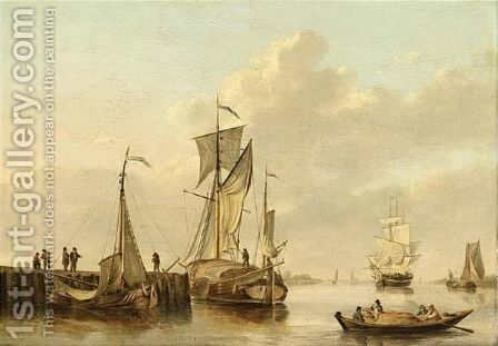 Shipping By A Jetty In A Calm by Martinus Schouman - Reproduction Oil Painting