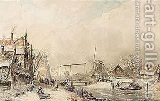Villagers In A Wintry Dutch Town by Charles Henri Leickert - Reproduction Oil Painting