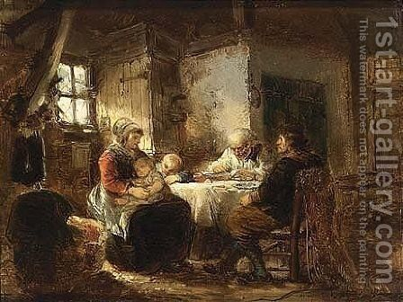 A Prayer Before The Meal by Herman Frederik Carel ten Kate - Reproduction Oil Painting
