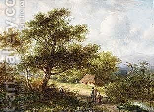 A Summer Landscape Near by Jan Evert Morel - Reproduction Oil Painting