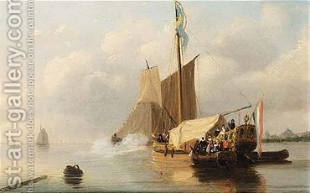 A Vessel Firing A Salute by Nicolaas Johannes Roosenboom - Reproduction Oil Painting