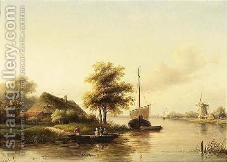 A River Landscape In Summer by Jan Jacob Coenraad Spohler - Reproduction Oil Painting