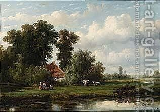 Anglers In A Polder Landscape by Anthonie Jacobus Van Wijngaerdt - Reproduction Oil Painting