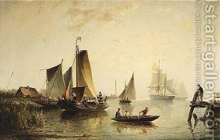 A River Landscape With Sailing Vessels by Nicolaas Riegen - Reproduction Oil Painting