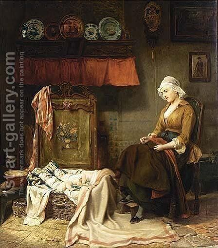 Maternal Pride by Carl Wilhelm Hübner - Reproduction Oil Painting
