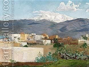 A Village In Front Of Antilibanon And Hermon by Gustave Bauernfeind - Reproduction Oil Painting