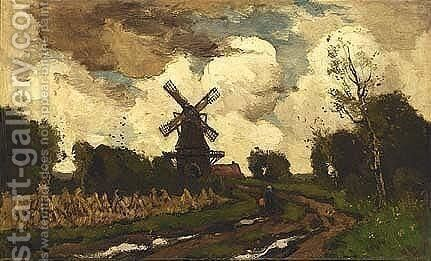 A Windmill In A Stormy Landscape by Theophile De Bock - Reproduction Oil Painting