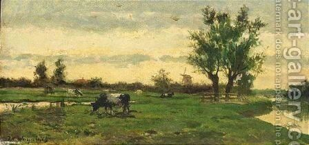 A Polder Landscape With Grazing Cows by Johan Hendrik Weissenbruch - Reproduction Oil Painting