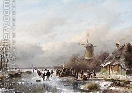 A Winter Landscape With Skaters Near A 'Koek En Zopie' by Andreas Schelfhout - Reproduction Oil Painting