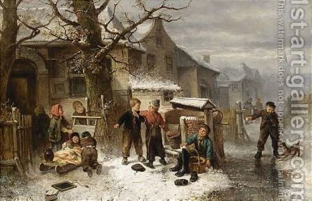 Children Playing In The Snow by Jan Mari Henri Ten Kate - Reproduction Oil Painting