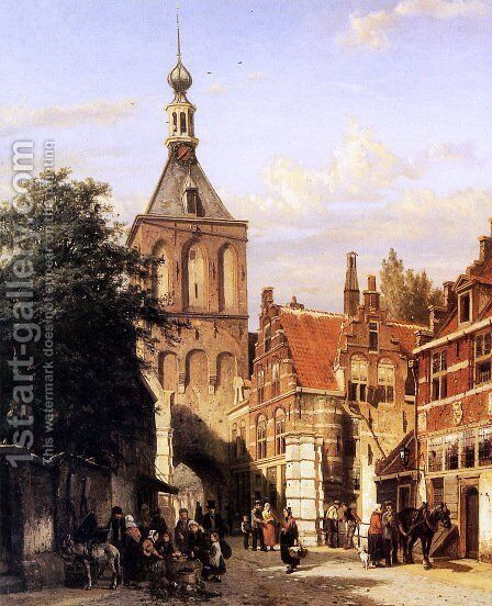 A View Of The Binnenpoort, Culemborg by Cornelis Springer - Reproduction Oil Painting