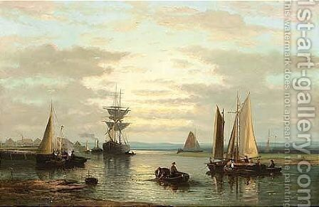 Sailing Vessels In A River by Abraham Hulk Jun. - Reproduction Oil Painting