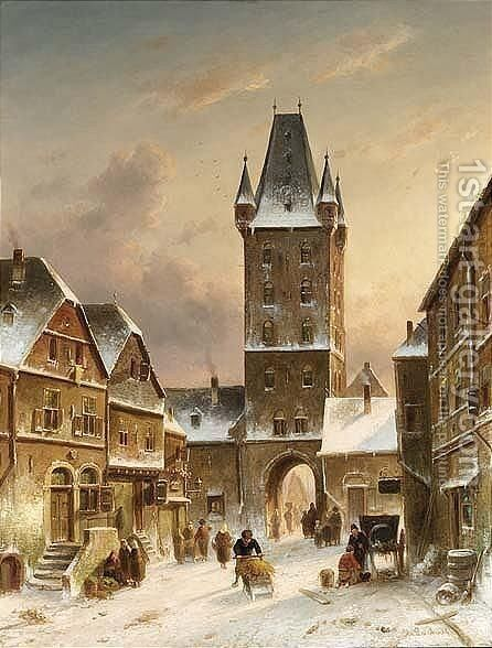A Townscene In Winter by Charles Henri Leickert - Reproduction Oil Painting