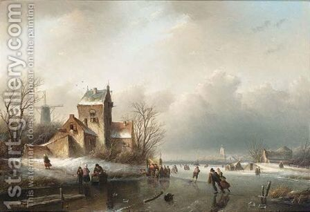 Skaters On A Frozen River,  A 'Koek And Zopie' Beyond by Jan Jacob Coenraad Spohler - Reproduction Oil Painting