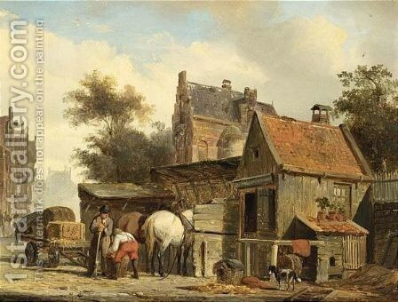A Street Scene With A Blacksmith At Work by Cornelis Springer - Reproduction Oil Painting