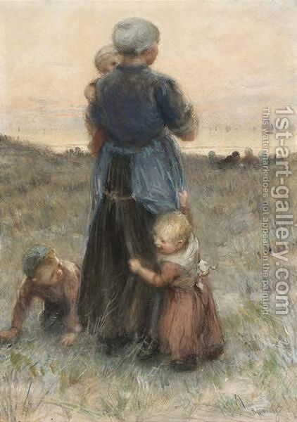 Waiting For Father's Return by Bernardus Johannes Blommers - Reproduction Oil Painting