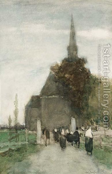 Going To The Church, Woubrugge by Johan Hendrik Weissenbruch - Reproduction Oil Painting
