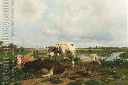Cattle At Pasture by Anton Mauve - Reproduction Oil Painting