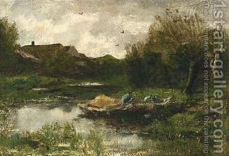 A Landscape With A Farmer In A Barge by Jacob Henricus Maris - Reproduction Oil Painting