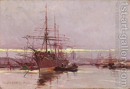 The Port Of Helsingor by Ioannis (Jean H.) Altamura - Reproduction Oil Painting