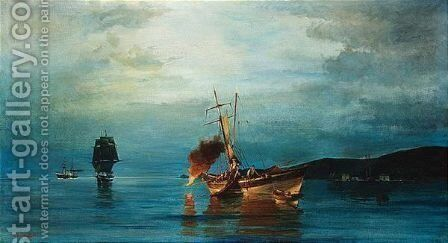 Pyrophani - Fire Fishing by Constantinos Volanakis - Reproduction Oil Painting